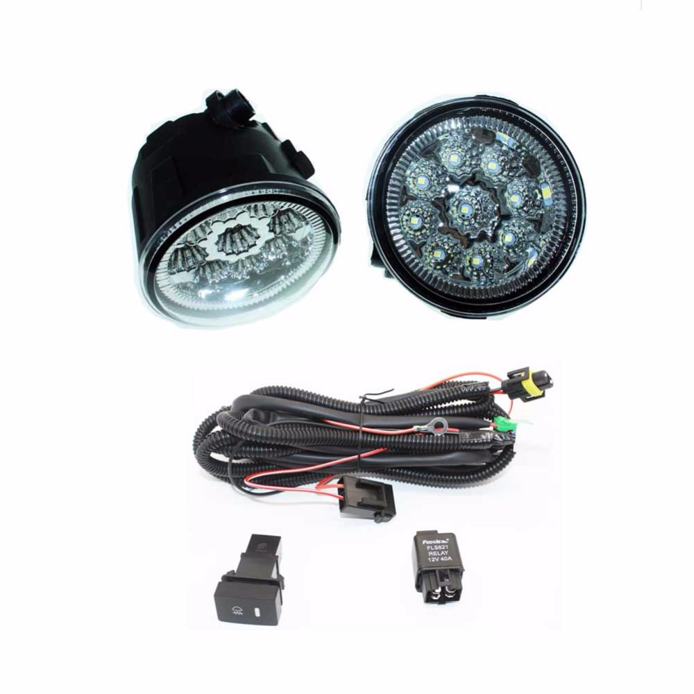 For NISSAN Note E11 MPV 2006-2015 H11 Wiring Harness Sockets Wire Connector Switch + 2 Fog Lights DRL Front Bumper LED Lamp <br>