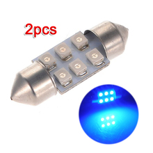 2x C5W LED 6 SMD 31MM Xenon Bulb Lamp shuttle Ceiling Dome Light, Blue 12V DC(China)