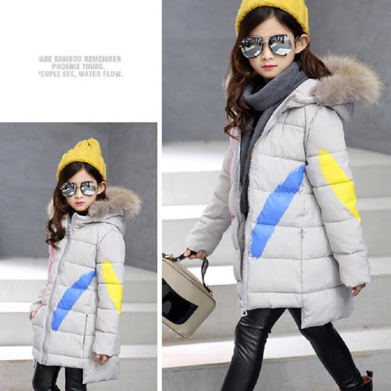 2017 New Winter Fashion Coat for Girls Kids Thicker Long Jacket Cardigan Zipper Youth Fashion Clothing Black  Gray  Green 4-13Y6<br>