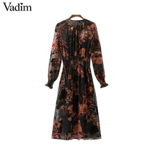 Vadim vintage floral pattern chiffon maxi long dresses see through two pieces set long sleeve elastic waist chic vestidos QZ3223(China)