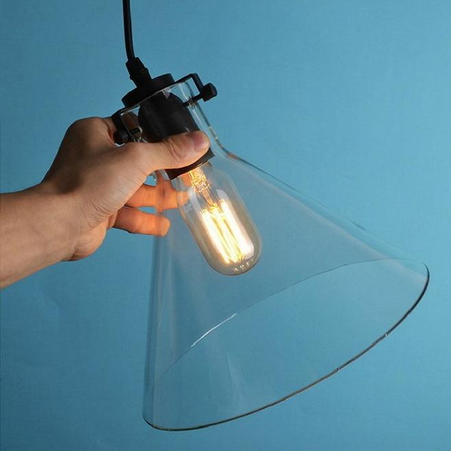 Vintage Funnel Pendant Lights Clear Glass Lamshade Loft Pendant Lamps E27 For Dinning Room Home Dcoration Lighting<br>