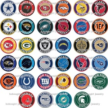 20mm  BG18063-18079  NFL FOOTBALL  Glass snap button for snap  jewelry