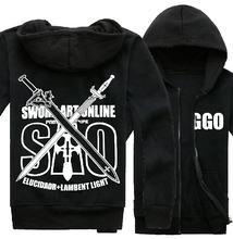 New Sword Art Online 2 GGO Hoodie Fashion Men Clothing Anime Zipper Coat SAO Sweatshirt(China)