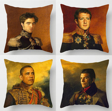 Barack Obama Robert Pattinson Cushion Covers Hand Painted Generals Mark Zuckerberg Simon Cowell Cushion Cover Linen Pillow Case(China)