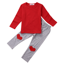 2017 New Casual Newborn Baby Clothes Set Long Sleeve T-shirt Tops Heart Pant 2PCS Outfit Infant Bebes Boys Girls Clothing Suit