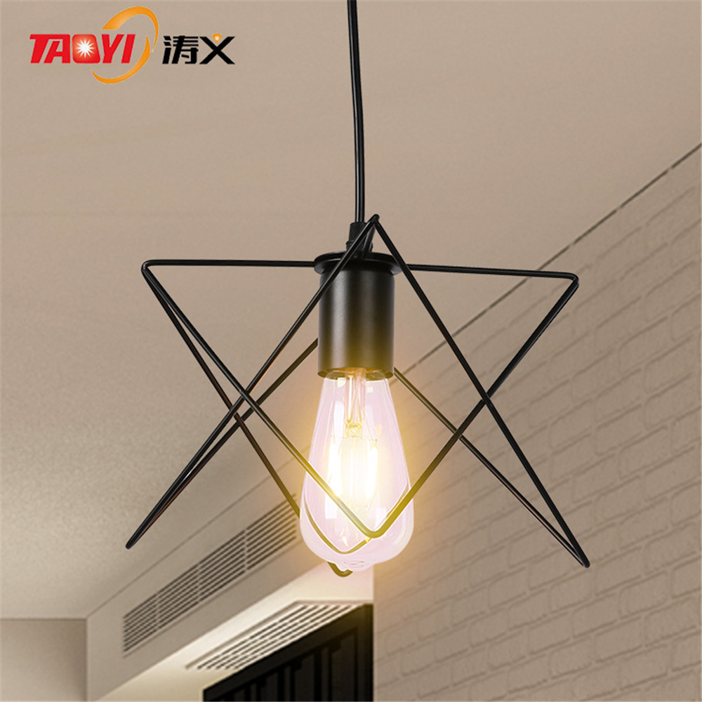 Creative personality American living room five-pointed star wrought iron pendant lamp for restaurant bar cafe <br>