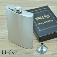 8 oz(227ml) Stainless Steel Hip Flasks with Funnel Portable Men's Garrafa Wisky Alcohol Bottle Outdoor Drinkware CT338
