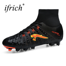 2017 New Men Football Cleats Youth Soccer Boots Size 38-45 Football Spikes Boots Black/Blue Outdoor Cleats With Sock Trainers(China)