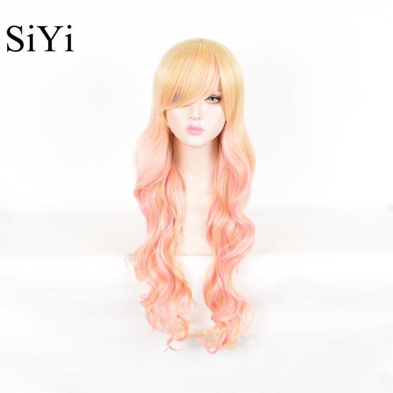 80CM Lolita Wig Orange Ombre Beige Ombre Long Curly Clip-In Ponytails Full Bangs Cosplay Wig Party Wigs With Bangs Free Shipping<br><br>Aliexpress