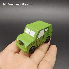 Small Wooden Jeep Truck Rescue Car Models Toys For Chilldren(China)