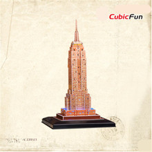 Kids Toy Cubicfun DIY Puzzle 3D LED L503h Empire State Building Models Handmade Paper 3D Puzzle Educational Toys Christmas Gift