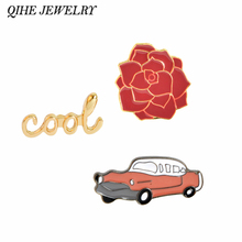 QIHE JEWELRY Vintage Cool  Flower Red Car Red Automobile Brooch collar badge Hat Jeans Jacket Accessories