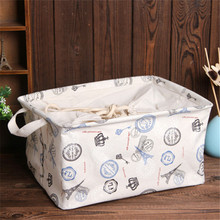 Cute Print Cotton Laundry Storage Basket Large Capacity Waterproof Drawstring Box Bin For Kid Toy Dirty Clothes Organization