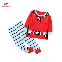 overalls children winter Christmas costumes Toddler Kids Baby Girl Boy Outfits Clothes Print T-shirt Tops+Pants Set mickey(China)