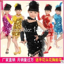 New Discount Sequin Cocktail Child Kids Girls Ballroom Tango dress Clothes Cheap Latin Dance Dresses For Sale