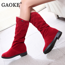 2017 Autumn Winter Women's Boots Height Increased Low Heel Female Boots Fashion Woman Shoes Matte Flock High Boots Sock Boots