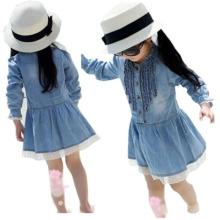 Newest Girl Kids Denim Beautiful Lace Cowboy Clothes Long Sleeve Dress Latest Dress Designs for Kids Vestido Infantil(China)