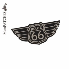 MotoPATCHES ROUTE 66 Patches For Clothing Embroidery DIY Accessory Iron on Patches(China)