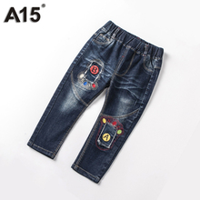 A15 Baby Boys Pants Cotton Ripped Pants Kids Jeans for Girls Toddler Boys Jeans Children Fashion Style Pants Clothing 2T 3 4 5Y(China)