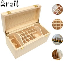 5ml~100ml 49 Slots Essential Oil Bottles Wooden Box 2 Drawer Storage Case Pine Wood Storage Holder Container Portable(China)