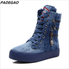 Buy Newest Women Boots Winter Plush Keep Warm Ankle Boots Outdoor Waterproof Ankle Shoes Platform Zipper Denim Snow Boots Sneakers for $20.74 in AliExpress store