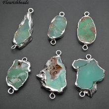 6pc Natural Green Australia Jade Two Loops Flat Oval Stone Pendant Jewerly Connectors(China)