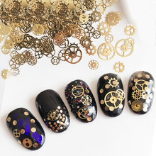 New 1 Jar Ultra-thin Punk Style Studs 3D Nail Art Decorations Time Wheel DIY Nail Supplies Gold Steam Machine Gear app 150pcs(China)