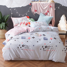 Romantic bedding set cotton light blue&pink cartoon duvet cover pink sweet coverlet mr and mrs pillowcase for couples multi-size