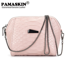 PAMASKIN Brand Premium Genuine Leather Women Small Messenger Bags 2017 Latest Hot Mobile Phone Bag Ladies Day Clutch Coin Purses(China)