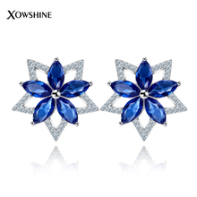 XOWSHINE 3 Color Flower Stud Earrings Women Female AAA Cubic Zirconia a a Created Ear Studs Claires Piercing Jewellery