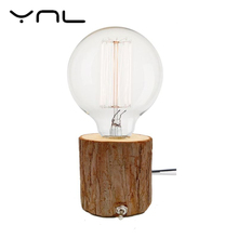 Edison bulb incandescent lamp E27 desk lamp bedside cafe night light retro diamond solid wood lamp holder EU / American plug