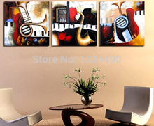 Free shipping 3pc/set Art High Quality Abstract Paintings Musical Instruments Abstract Canvas Art Paintings Panel Art Wall Decor