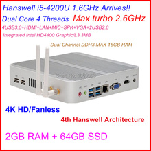 4K HD mini pc i5 with Intel Core i5 4200U 1.6Ghz CPU Haswell Architecture SOC design 2G RAM 64G SSD windows7/8 Linux