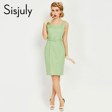 Sisjuly women 1950s bodycon dress pin up sleeveless button sashes elegant dress summer female green luxury slim bodycon dresses(China)