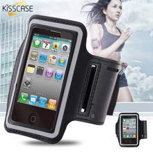 KISSCASE Sport Gym Running Bag Arm Band Holder Pounch Belt Case For Apple iPhone 4 4S Portable PU Mobile Phone Bags Cover