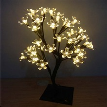 Retail LED Cherry Tree Night Lights Table Lamp Garland for Redroom Christmas Fairy Wedding Luminarias Decoration Indoor Lighting