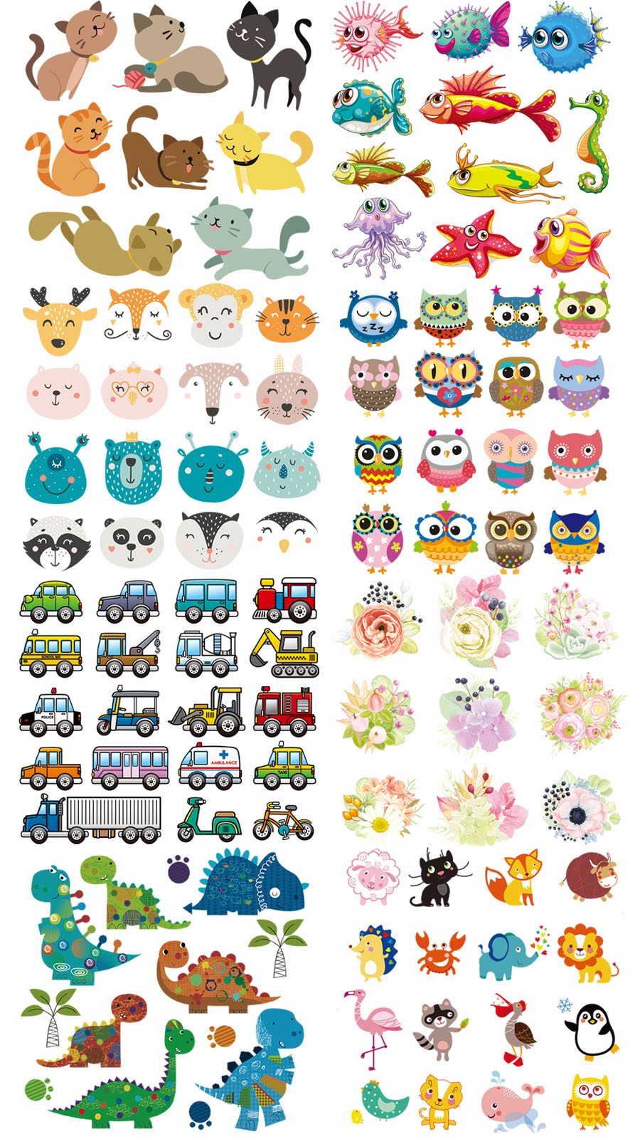 Set Of Patch Iron On Clothes Cute Animal Cars Clothing Deco New Design Diy Accessory Heat Transfer Washable Badges Patch 1