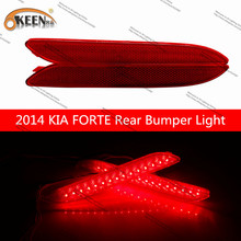 OKEEN Waterproof Car LED Bumper Reflector Tail Rear Brake Light  and turn signal black lamps For 2014 KIA FORTE Free Shipping