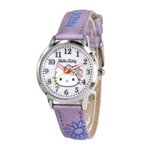 Genuine hello kitty wrist watch kids student children girls leather quartz Original cartoon waterproof Luminous number HKFR1206