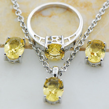 Citrine 925 Sterling Silver Jewelry set Pendant Earrings Ring Set Size 5 6 7 8 9 10 11 12 TT10