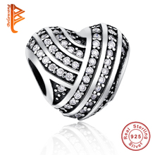 Authentic Solid 925 Sterling Silver Charm Crystal Heart,Family House,Crown Bead Fit Original Pandora Bracelet DIY Jewelry