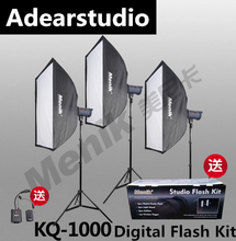 Menik KQ-1000 Professional 1000 Watt Photo Studio Flash Lighting Kit for Video, Portrait and Product Photography NO00DC(China)