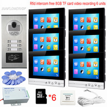 "8GB TF Memory Card Vieo Recording Intercom Camera Video Doorbell Rfid 6 Buttons Home Intercom Video Camera UI Meun 7""Touch Keys(China)"
