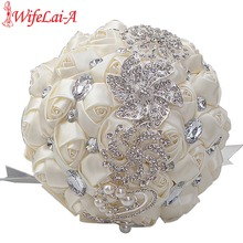 Top Sale Cream Ivory Bridal Brooch Bouquets Ramos De Novia Artificial Flowers Crystal Wedding Bouquet Bridesmaid Bouquets W228-1(China)
