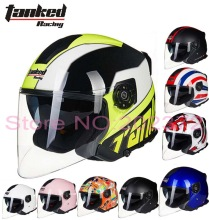 Germany Tanked Racing half face motorcycle helmet dual lens motorbike safety helmets made of ABS T597 removable liner 10 colors(China)