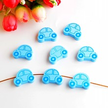 25pcs Wooden Beads Lovely Car Styles Spacer Beading Wood Beads Toys For Baby DIY Crafts Kids Toys & Pacifier Clip 25x18mm(China)