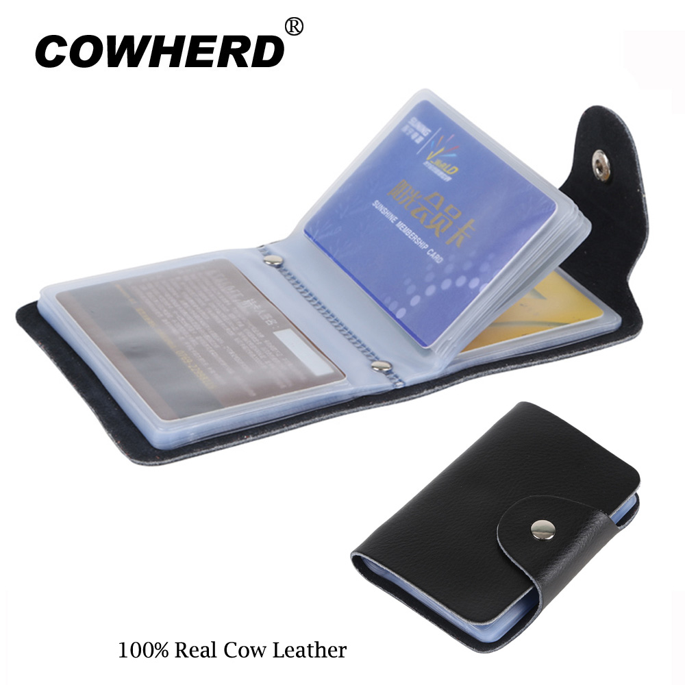 Genuine Cow Leather Business Card Holder Bank Credit Card id Holder Men Wallet Card Case Protector Name Bank Credit Card Wallet
