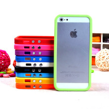 New Solid Color silicone protector Bumper For iphone 5 5s SE protector cover tpu pc frame cell phone bags case with 10th colors(China)