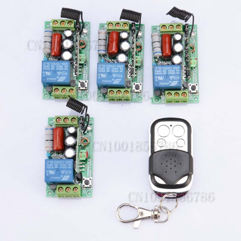 AC220V 1CH 10A 1000W RF Wireless Push Remote Control Light Switch Learning Code System 4Receiver 1Transmitter Toggle Momentary<br><br>Aliexpress