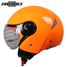 NENKI Vintage Style Motorcycle Open Face Helmet Men Women Cruiser Touring Chopper Scooter Street Bike Clear Lens Shield Helmet